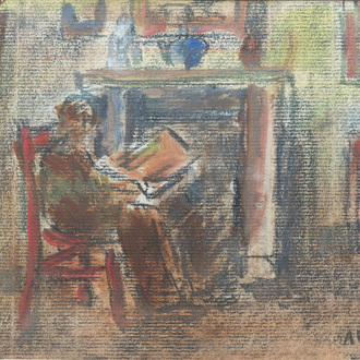 Alphons Vermeir (1905-1994): Lady in an interior, pastel on paper