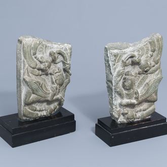Two Chinese carved stone fragments with winged ladies, 20th C.