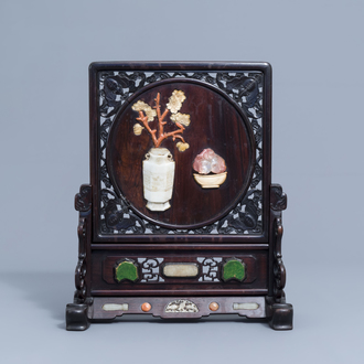 A Chinese ivory and hardstone inlaid wooden table screen, 19th/20th C.