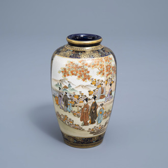 A Japanese Satsuma vase with figures in a flower garden and a landscape, Kinkozan mark, Meiji, 19th C.