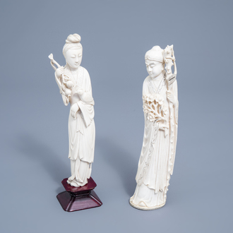 Two Chinese carved ivory figures of a scholar and a lady with a parrot, 19th/20th C.