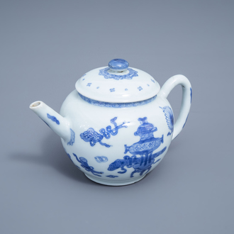A Chinese blue and white teapot and cover with antiquities design, Kangxi