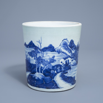 A Chinese blue and white scroll pot with landscape design, 19th C.