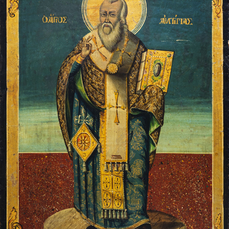 A large Greek icon, 'Anthimus of Nicomedia', possibly 18th C.
