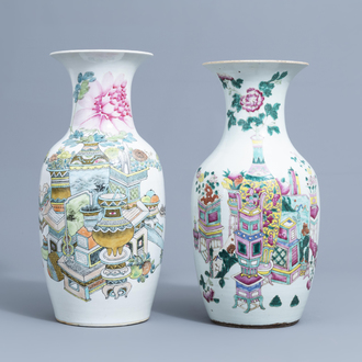 Two Chinese famille rose and qianjiang cai vases with antiquities design, 19th/20th C.