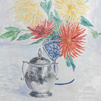 Louis Thevenet (1874-1930): Still life with chrysanthemums and a sugar bowl, oil on canvas, dated 1925