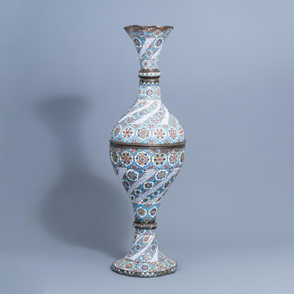A large Persian enamelled copper vase, probably Qajar, Iran, 19th/20th C.
