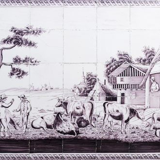 A manganese Dutch Delft tile mural with an animated village view with a cattle dealer, 18th C.