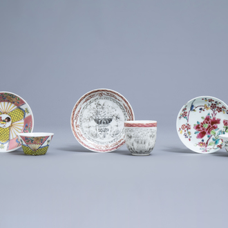 Three various Chinese famille rose and grisaille cups and saucers, Yongzheng/Qianlong