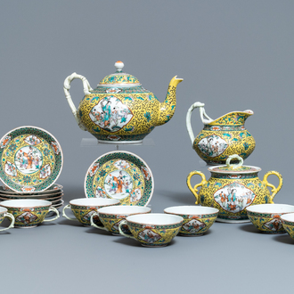 A Chinese 19-piece yellow ground famille verte tea service, 19th C.