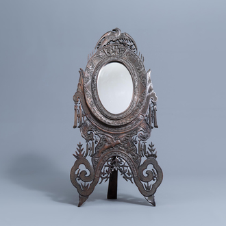 A Chinese carved wooden mirror frame for the Portuguese market, 18th/19th C.