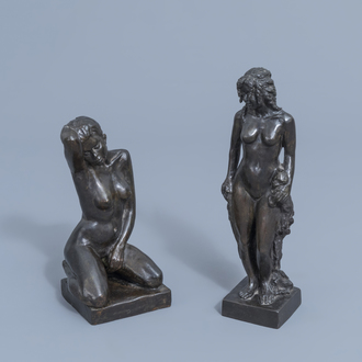 Halil Faik (1940): Two naked ladies, patinated bronze, ed. 2/7 and 2/8