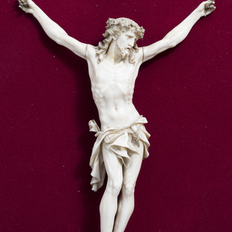 A French finely carved ivory Corpus Christi, 19th C.