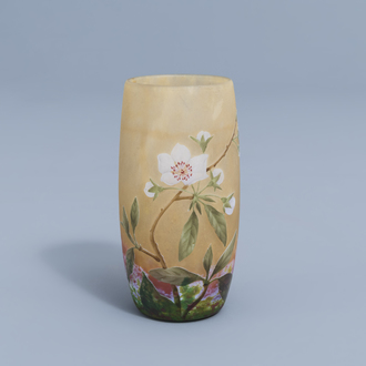 A French Art Nouveau etched overlay glass vase with floral design, Daum Nancy, first half of the 20th C.