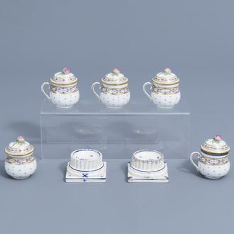 A pair of blue and white faience fine salts and five covered cream jars, Luxemburg and France, 18th/19th C.