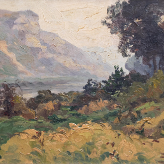Albert Dandoy (1885-1977): A shore of the Meuse, oil on canvas, dated (19)30