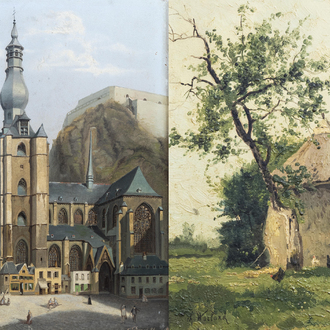 Charles Warland (1856-1921): 'Vue prise à Dilbeeck', oil on panel, dated 1885 & E. Depré: View on Dinant, oil on panel, dated (18)86