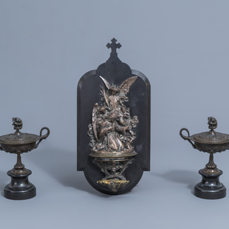 Léonard Morel-Ladeuil (1820-1888): A holy water font with Christ in the garden & Auguste Nicolas Cain (1821-1894): Two covered vases, patinated bronze