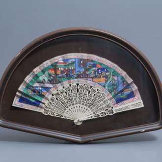 A framed Chinese painted paper and ivory fan, Canton, 19th C.