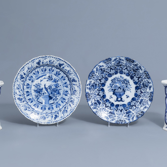 Two Dutch Delft blue and white chargers and two vases, 18th/19th C.