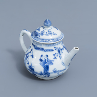 A Chinese blue and white 'Long Eliza' teapot and cover, Kangxi