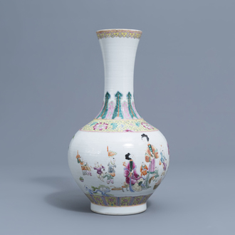 A Chinese famille rose bottle shaped vase with boys and ladies, Jiaqing mark, 19th/20th C.