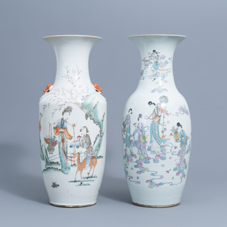 Two Chinese famille rose vases with ladies, 19th/20th C.
