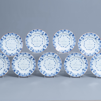 A series of nine Dutch Delft blue and white 'text' plates, 18th C.