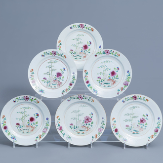 Six Chinese famille rose plates with floral design, Qianlong