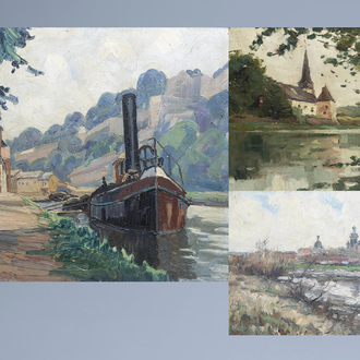 Belgian school: Three views on the Meuse, oil on panel and board, 20th C.