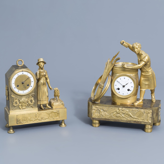 Two French gilt bronze mantel clocks with a barrel maker and a shepherdess with her favourite animal, 19th C.