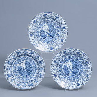 Three Dutch Delft blue and white 'birds of paradise' dishes, 18th C.