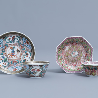 Two Chinese famille rose cups and saucers with floral design, Yongzheng