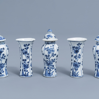 A Chinese blue and white five-piece miniature garniture with floral design, Kangxi