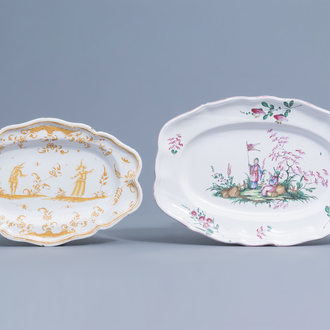 Two oval Franch faience de l'Est and Moustiers pottery 'chinoiserie' dishes, 18th/19th C.