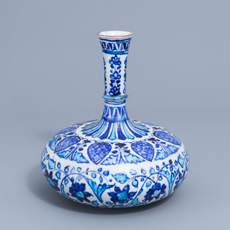 A blue, white and turquoise 'Multan' bottle vase, India, 19th C.