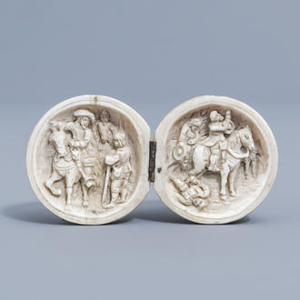 A French ivory prayer-nut or diptych ball carving with figurative design, probably Dieppe, 19th C.
