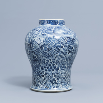 A Chinese blue and white baluster vase with phoenixes, Kangxi/Qianlong