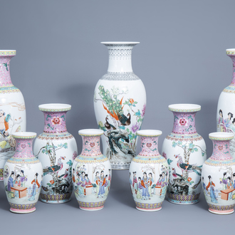 Nine various Chinese famille rose vases, 20th C.