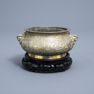 A Chinese brass censer with figurative design all around, Xuande mark, ca. 1900
