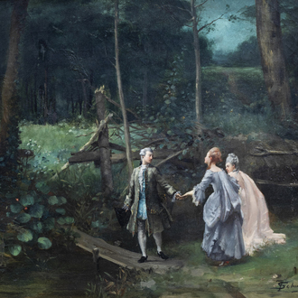 François Schommer (1850-1935, in the manner of): A galant scene in a park, oil on canvas