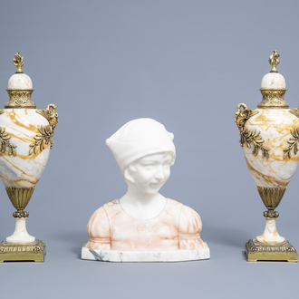 A pair of gilt mounted Neoclassical marble cassolettes and a girl's bust, 19th/20th C.