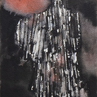 Pierre Dmitrienko (1925-1974): Untitled, mixed media on paper, dated (19)58