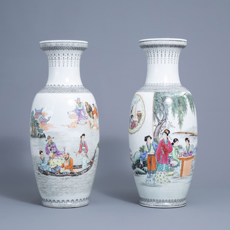 Two Chinese famille rose vases with Immortals and ladies on a terrace, Qianlong mark, Republic, 20th C.