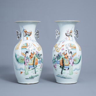 A pair of Chinese famille rose vases with a qilin and figures in a garden, 19th/20th C.