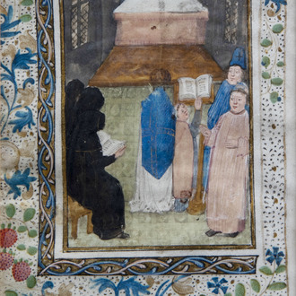 An illuminated miniature on parchment depicting the worship, Flanders, 15th C.