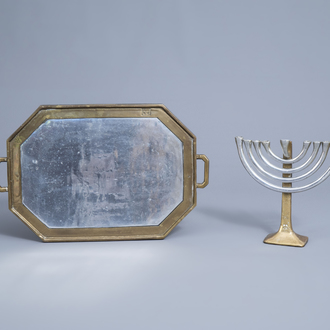David Marshall (1942): A menorah or seven-light candelabra in aluminium and brass and an accompanying tray