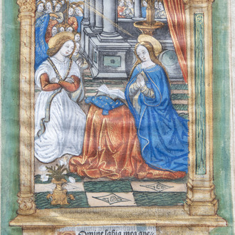 An illuminated miniature on parchment depicting the Annunciation, France, 16th C.