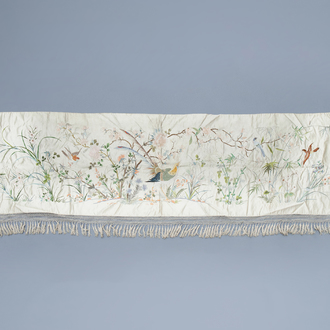 A Chinese horizontal silk embroidery with birds and a butterfly among flower branches, 19th C.