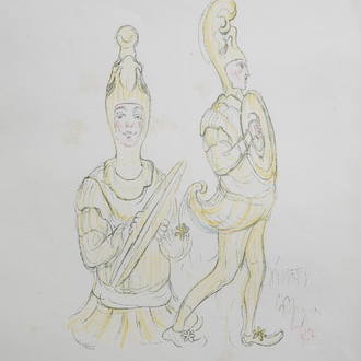 James Ensor (1860-1949): 'Cymbaliers', lithograph in colours, [1929]
